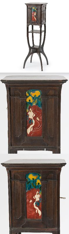 Cabinet with Art Nouveau maiden tiles, tiles designed by Carl Luber and manufactured by Johann von Schwarz, cabinet manufactured by J. Black of Nuremberg, Germany. H: 110 cm. | SOLD $5,626