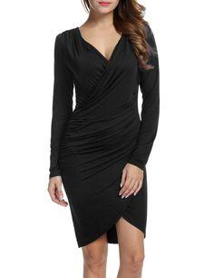 Black Women Long Sleeve Deep V-neck Pencil Bodycon Solid Slim Banquet Knee Party Dresses