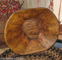 DOUGH BOWL~TRENCHER~Table Centerpiece-Primitive Decor~Handcarved Wood Style