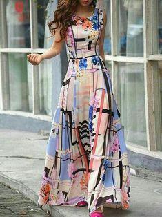 Ericdress Plaid Floral Print Sleeveless Maxi Dress Maxi Dresses - All About Pretty Dresses, Beautiful Dresses, Gorgeous Dress, Modest Fashion, Fashion Dresses, Women's Fashion, Fashion Clothes, Fashion News, Fashion Women
