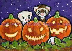 Art by Shelly Mundel. Ferret People  (Jack O Lanterns )  5x7 inch Canvas Cloth…