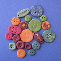 various clay buttons