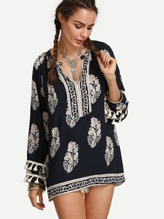 Shop Navy Vintage Print Tassel Trim Blouse online. SheIn offers Navy Vintage Print Tassel Trim Blouse & more to fit your fashionable needs.