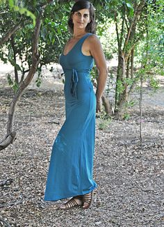Open back maxi dress Convertible backless teal dress by Picarona, $68.00