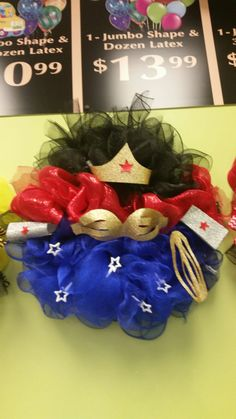 My wonder woman wreath! Designed by Carrie DiLeo