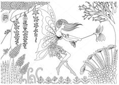 Find Fairy Playing Bird Forest Design Coloring stock images in HD and millions of other royalty-free stock photos, illustrations and vectors in the Shutterstock collection. Fairy Coloring Pages, Coloring Pages For Girls, Coloring Books, Fairy Tail, Forest Design, Elves And Fairies, Forest Fairy, Colorful Pictures, Disney