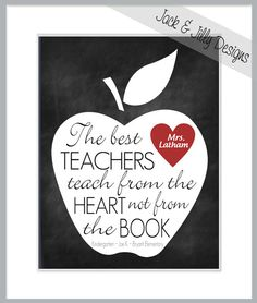 TEACHER GIFT - The Best Teachers teach from the Heart Personalized Poem Print - You Choose the Colours - End of Year/Term Gift via Etsy