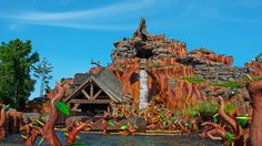 A log floating past a briar patch at the base of Splash Mountain