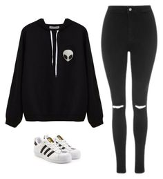 """""""Untitled #601"""" by danieledepaula on Polyvore featuring Topshop e adidas Originals"""