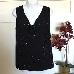 •Sequin Top• Draped neckline• Sequin top• 95% Rayon 5% Spandex• In great condition• No Trade/PP Charter Club Tops Tunics