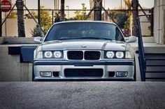 BMW E36 3 series silver slammed front stance