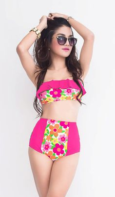 Pink Flower Ruffle Bandeau Patchwork Top Bra and Vintage Retro High Waist Waisted Shorts Bottom Swimsuit Swimsuits Swimwear Bathing suit S M...