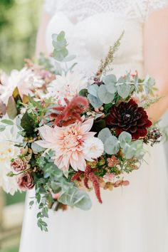 September Wedding flowers - Bridal bouquet with blush dahlias, burgundy dahlias, brown lisianthus, antique hydrangea, and eucalyptus. |