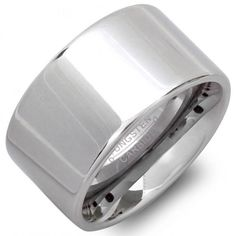 Tungsten Carbide Polished Shiny Flat Pipe Cut Style 12mm Wedding Band Ring 12 Size
