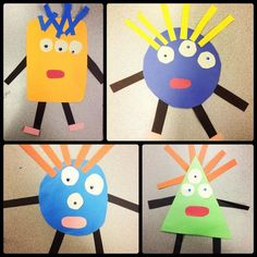 Geometric monsters / art lesson / special education / pre school/kindergarten - interactive lesson // Students chose strands of hair based on number of letters in name, body shape based on boy/girl et (Fine Motor Halloween Activities) Kindergarten Art Lessons, Art Lessons Elementary, Halloween Activities, Art Activities, Halloween Ideas, Art Education, Special Education, Math Art, Shape Art
