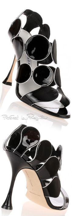 Manolo Blahnik Hairbal Piped-Circle Sandal.......