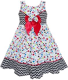 Girls Dress Sleeveless Polka Dot Bow Tie Striped Black Wave Size 8 #SunnyFashion…