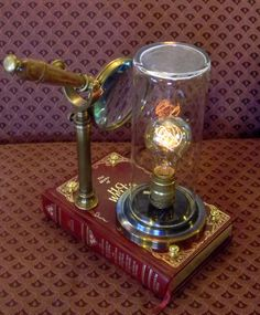 So much to tell you about this lamp that is a tip-of-the-hat to the sci-fi futurist, H.G. Wells. Sure to please Steampunk bibliophiles as well.