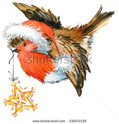New year seamless background with winter bird. watercolor