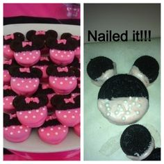 My try at Minnie Mouse Oreo cookies!!!