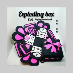 """""""Exploding box. Digital download. Cricut SVG"""" How To Use Cricut, Insert Image, Pen Design, Gift Bows, Exploding Boxes, Cricut Tutorials, Explosion Box, Pocket Cards, Heart Cards"""