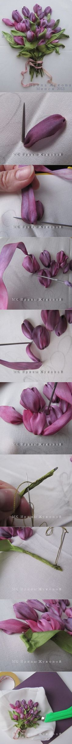 How to Make Ribbon Embroidery Flower with Straight Stitch | www.FabArtDIY.com LIKE Us on Facebook ==> https://www.facebook.com/FabArtDIY