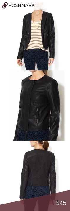 Free People Vegan Leather Jacket Free People Vegan Leather Back Lace Black Jacket , it has a scratch on the back see picture please. Free People Jackets & Coats