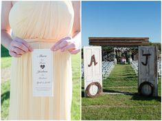 Rustic wedding with yellow details at Twisted Ranch with church doors at end of aisle