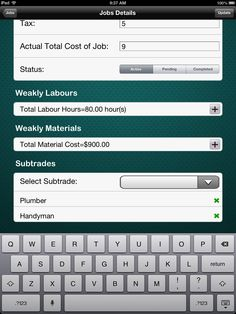 Select Subtrades Screen for Contractor iPad App for Parabola Developments Ltd