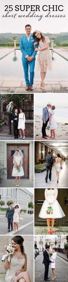 25 Super Chic Short Wedding Dresses   SouthBound Bride   Full credits & links: http://www.southboundbride.com/short-wedding-dresses