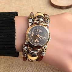 2017 New Punk Style Quartz Watches Women Personality Leather Bracelet Watch Fashion Casual Clock Relogio Feminino Women's Dress Watches, Wrist Watches, Retro Watches, Punk Fashion, Fashion Watches, Gold Watch, Bracelet Watch, Bracelets, Clock