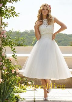Lace tulle tea length wedding dress with removable by Bebowedding, $249.00