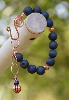 Dark Blue Druzy Agate Gemstone Bracelet with by CharmedImagination