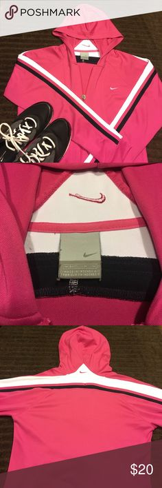 Nike Jacket Nike women's jacket size medium pink with black and white stripes on the sleeves. Very good condition. All offers will be considered. Bundle and save!!! Nike Jackets & Coats