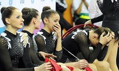 """So happy they won their apeal and will get to compete! """"Great Britain's rhythmic gymnasts show their emotion after finishing in last place during the Olympic test event."""" Photograph: Anthony Devlin/PA"""