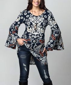 This Navy Paisley Bell-Sleeve Tunic - Plus is perfect! #zulilyfinds