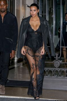 Kim Kardashians Sheer Jumpsuit Overshadows Paris Fashion Week