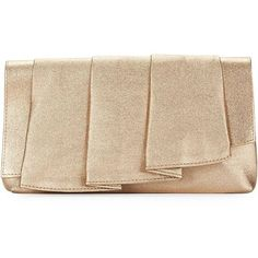 La Regale Ruffle Pleated Clutch (3.475 RUB) ❤ liked on Polyvore featuring bags, handbags, clutches, gold, la regale, beige handbags, la regale handbags, la regale purse and ruffle purse