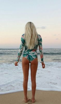 Surf Long Sleeve Print One Piece Swimsuit