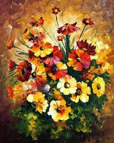 """Still Life Painting — Songs Of My Heart — PALETTE KNIFE Modern Oil Painting On Canvas By Leonid Afremov - Size: 24"""" x 30"""" (60 cm x 75 cm)"""