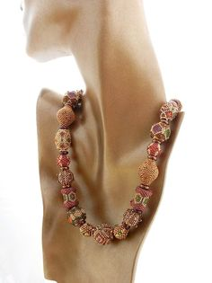 Necklace hand crafted beaded beads Autumn by TheBeadedBead