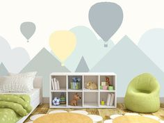 Hand Painted Cartoon Geometric Nursery Children Wallpaper Wall Mural Grey Geometric Mountain Hot-ai The post Hand Painted Cartoon Geometric Nursery Children Wallpaper Wall Mural Grey Geome appeared first on Children's Room. Clouds Nursery, Nursery Room, Kids Bedroom, Nursery Decor, Bedroom Decor, Baby Room, Nursery Grey, Lego Bedroom, Child Room