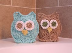 Owl Washcloths Washmitts Stocking Stuffer Bath time's a HOOT with Addy and Andrew. $20.00, via Etsy.
