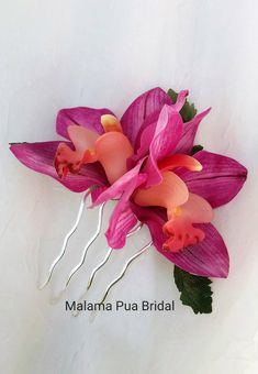 TROPICAL HAIR FLOWERS, Silk flowers, hair comb, Wedding flowers, Bridal headpiece, Tropical Headpiece, Fascinator, Beach Wedding, Hawaiian by MalamaPuaBridal on Etsy