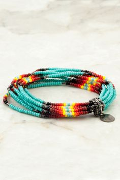 New Turquoise Beaded Multi Strand Stretch Bracelet - Chan Luu