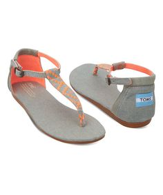 Take a look at this Neon Coral & Gray Woven Playa Sandal on zulily today!