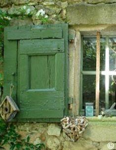 green shutters on a stone cottage Irish Cottage, Cozy Cottage, Provence, Green Shutters, Cottage Windows, Woodlands Cottage, Window Sill, Window Boxes, Window Shutters