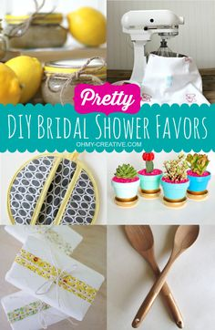 Create Pretty DIY Bridal Shower Favors for a personal touch including beauty items, kitchen favors for a kitchen bridal shower and pretty plant pots favors!