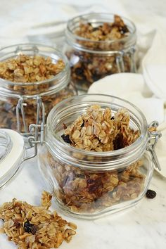 Homemade Granola Recipe - Crunchy nuts, tart cranberries and sweet honey combine with toasted oats to make a delicious and healthy granola. via @bowlmeover