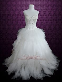 Princess Ball Gown Wedding Dress with Tulle Feather Ruffles and Sparkly Bodice | Heba